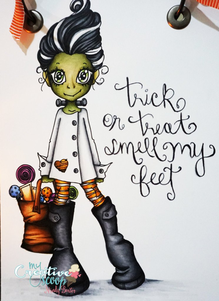 Saturated Canary Trick or Treat word art - Copics