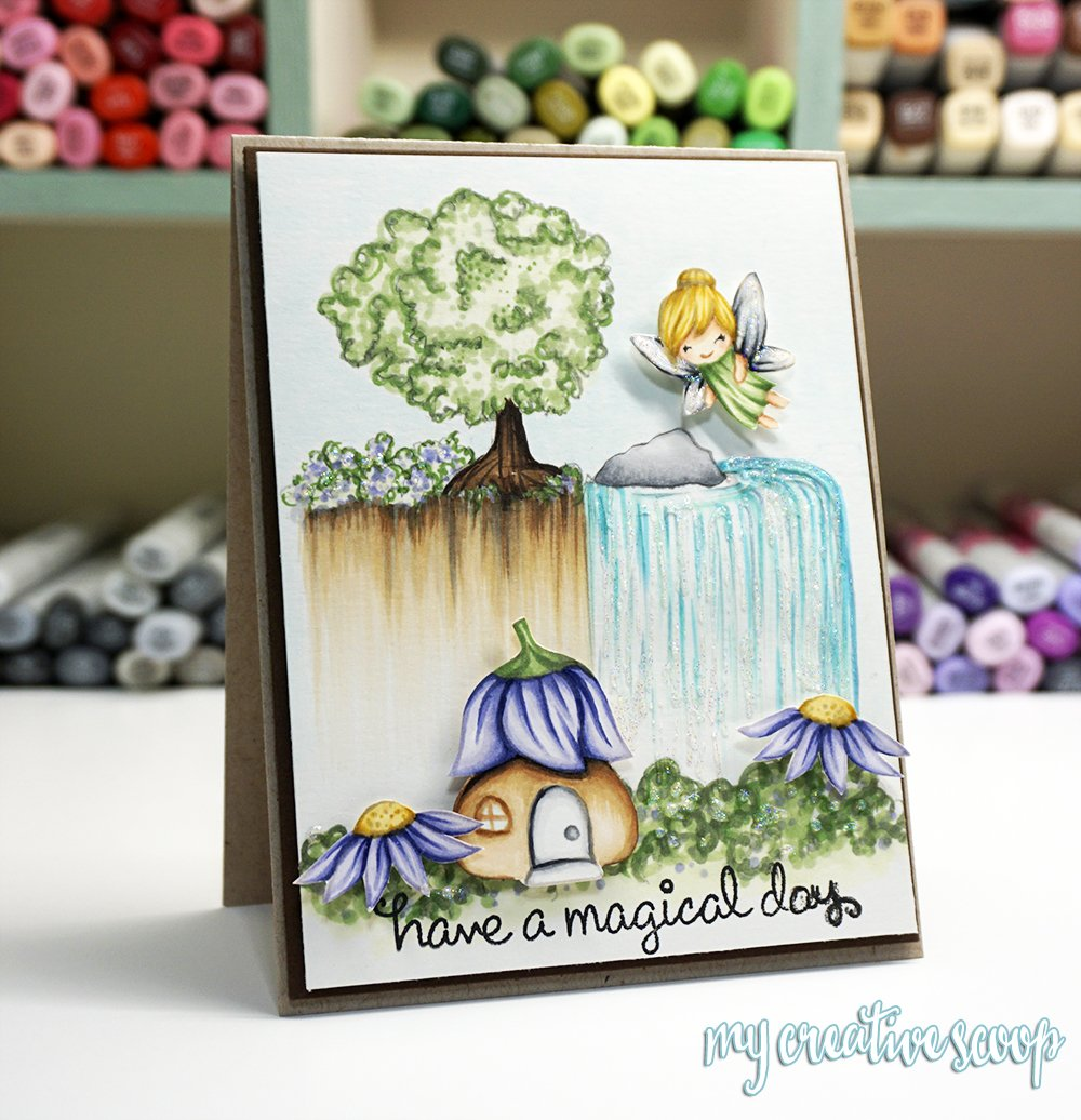 Coloring a Waterfall with Copic Markers + FREE Waterfall Coloring Page