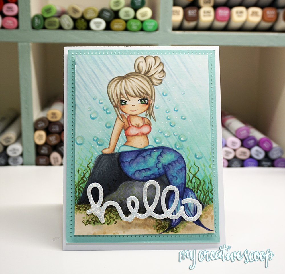 Coloring an underwater scene using Copic Markers + FREE Digi Stamp!