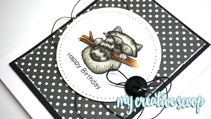 Happy Birthday Card by Mindy Baxter | Raccoon Rascals Stamp set by Newton's Nook Designs #newtonsnook