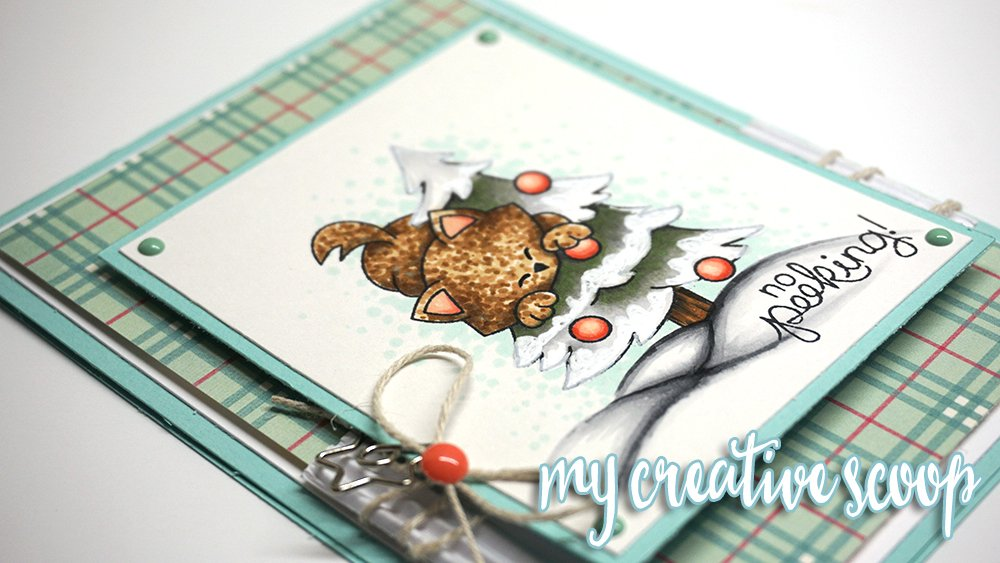 Christmas Kitty Card with August Guest - Mindy Baxter | Newton's Curious Christmas Stamp set by Newton's Nook Designs #newtonsnook