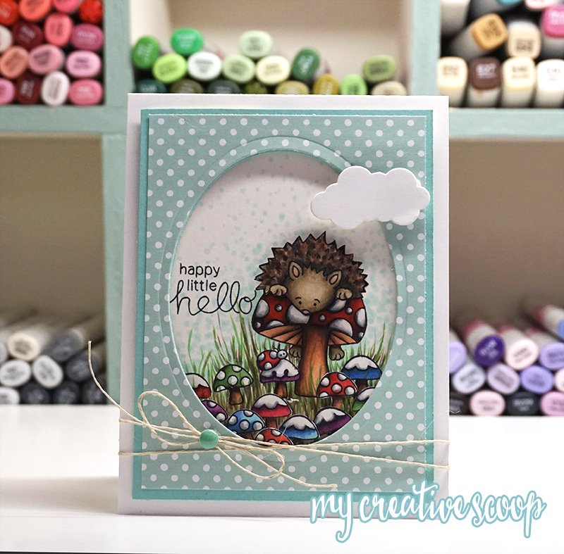 Happy Little Hello Card by August Guest Designer Mindy Baxter | Hedghog Hollow Stamp set by Newton's Nook Designs #newtonsnook