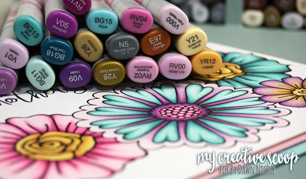 mothers-day-flower-copic-tutorial - 8 Copic Marker Tutorials with Free Printable Coloring Pages