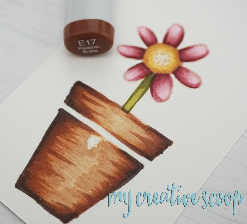How to color a terracotta pot using Copic Markers - Tammy Tutterow Designs Stamps