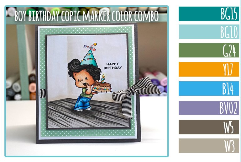 Boy Birthday Copic Marker Color Combo - C.C. Designs