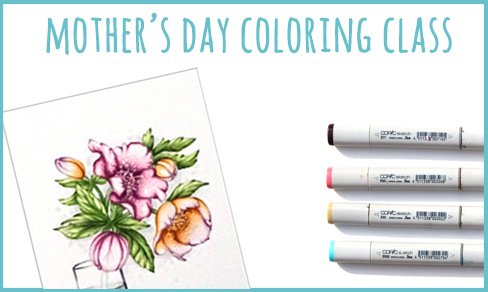 Mother's Day Online Coloring Class with Power Poppy Stamps