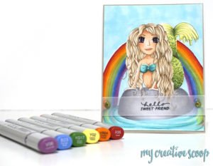Free Mermaid Digital Stamp Download