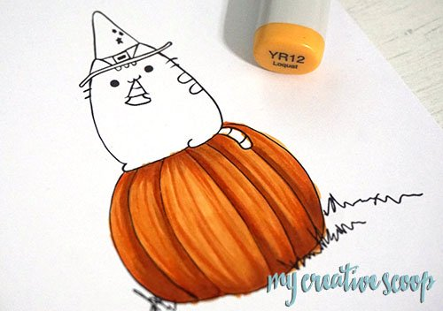 How to Color a Pumpkin using Copic Markers + FREE Digi Stamp