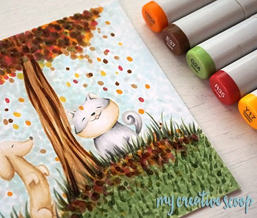 How to Create Fall Trees using Copic Markers