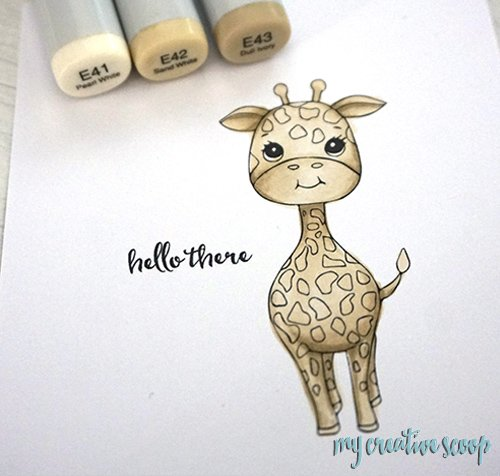Coloring a Giraffe using Copic Markers + FREE Digi Stamp