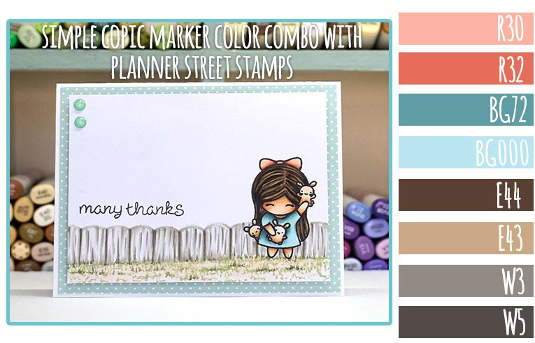 Simple Copic Marker Color Combo using Planner Street Stamps