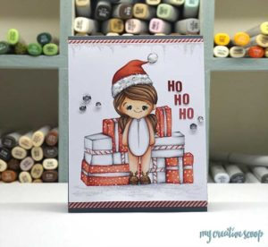 Create Christmas presents freehand using Copic Markers and Mommy Lhey Stamps