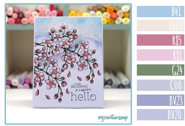 How to color Mountains behind your Power Poppy Flowers + Copic Marker Color Combo