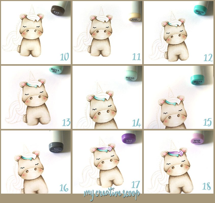 No Line Coloring - Step by Step Unicorn Copic Tutorial