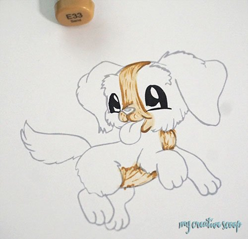 How to Color a Puppy using Copic Markers + Free Digi Stamp