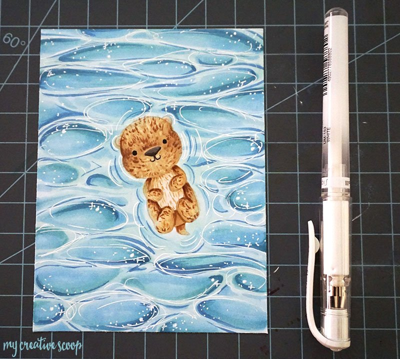 How to Color Water using Copic Markers + Free Otter Digi Stamp