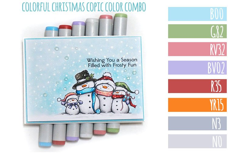 Colorful Christmas Copic Marker Color Combo