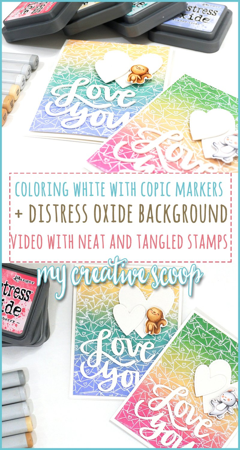 Video Tutorial Coloring White with Copic Markers + Distress Oxide Background