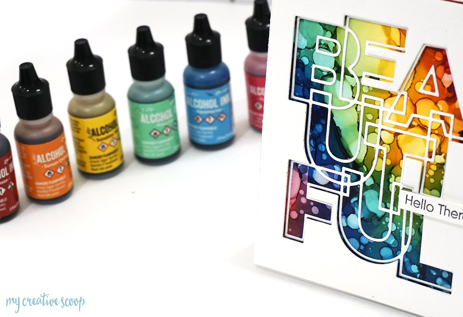 Rainbow Background using Tim Holtz Alcohol Inks