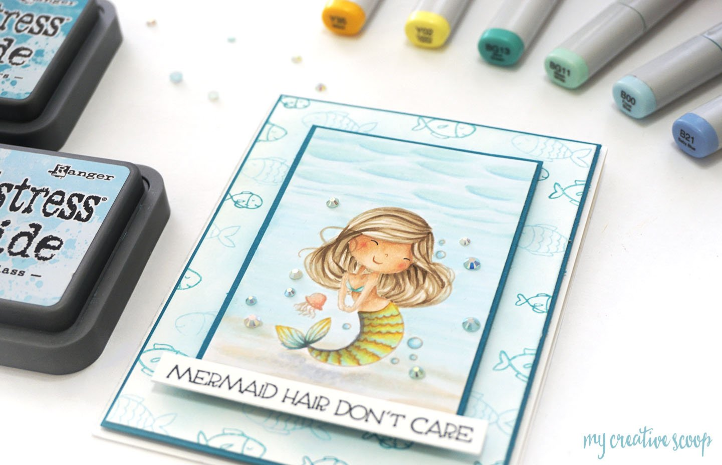Mermaid Copic Marker Color Combo with The Rabbit Hole Designs