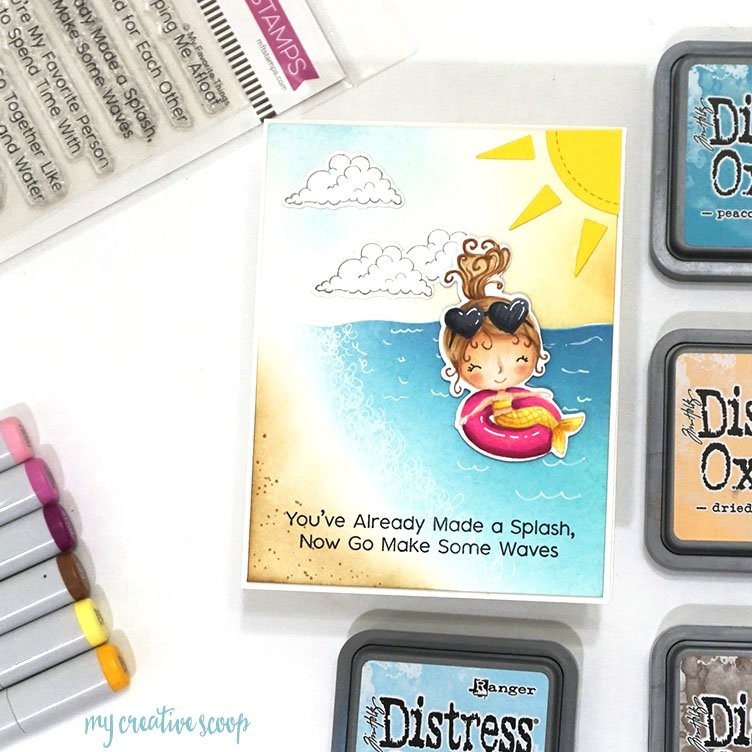 Beach Scene with Copics and Distress Oxide Video Tutorial