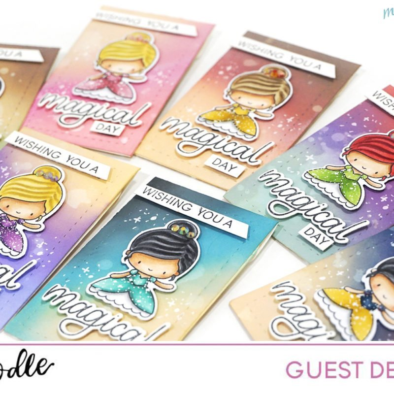 Princess Copic and Distress Oxide Ink Color Combos with Heffy Doodle Stamps
