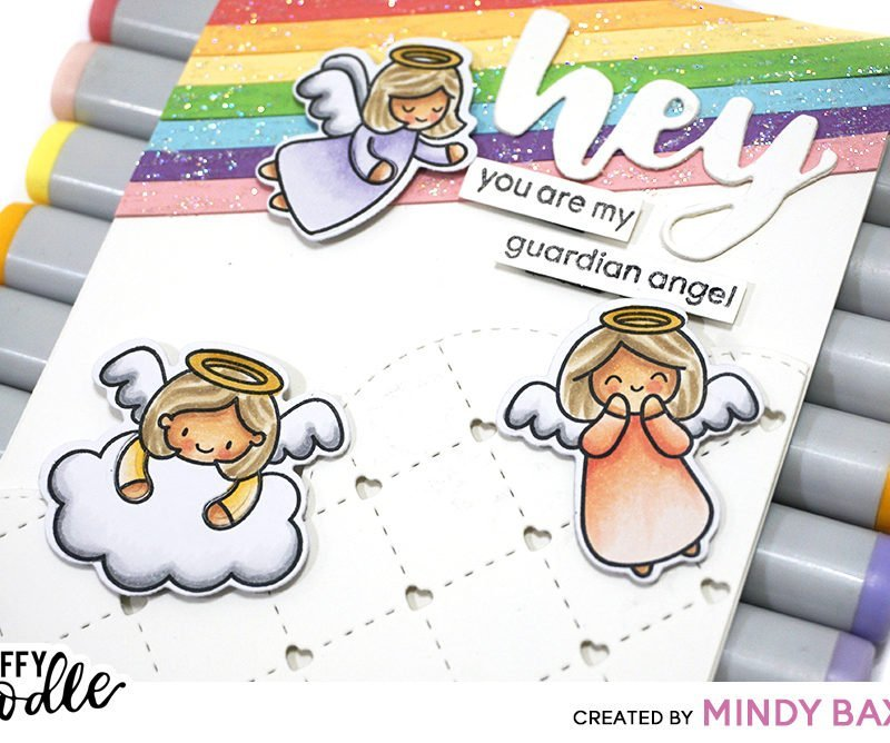 Rainbow Angel Card + Step By Step Coloring + Chongolove Sticker