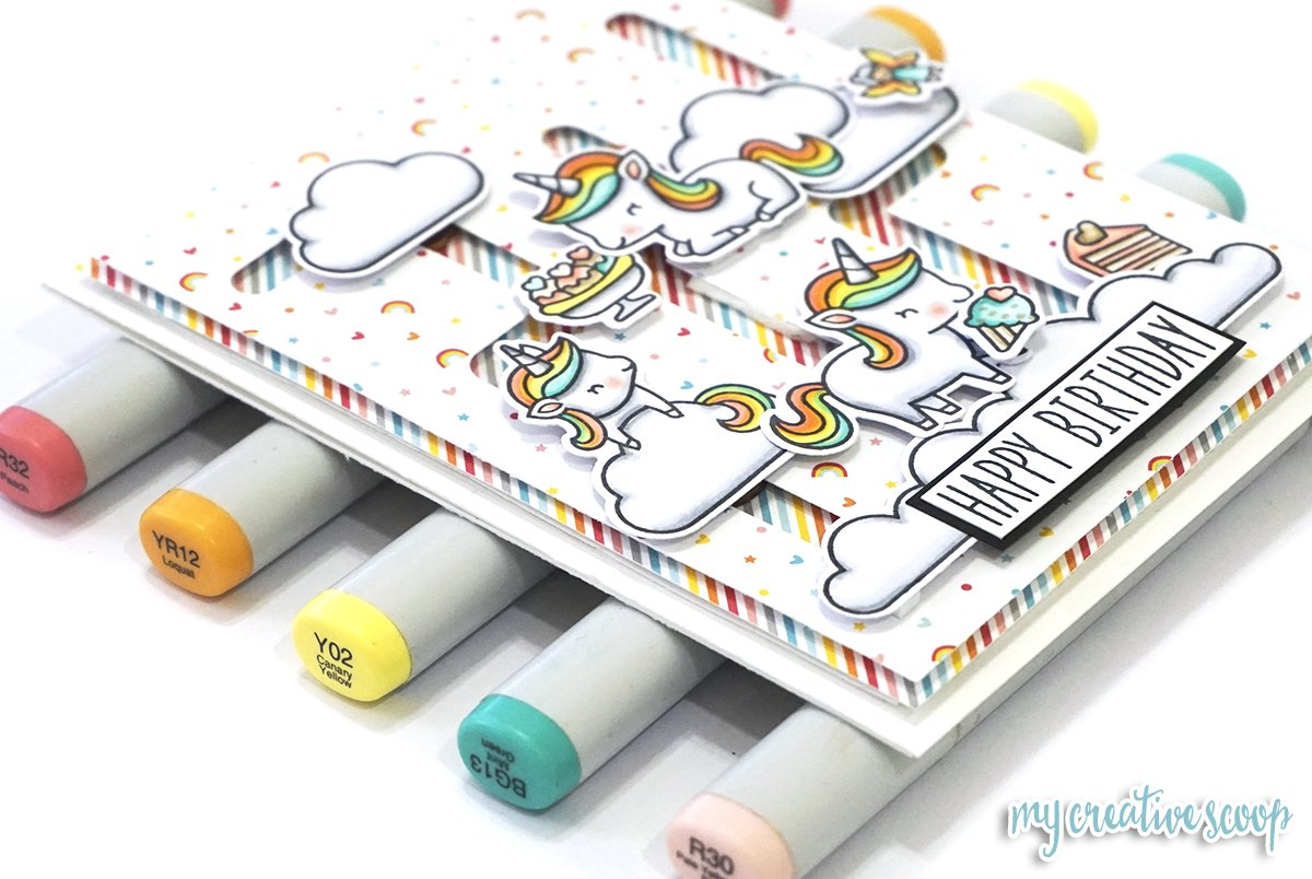 Lawn Fawn Slide Over Maze Die Card using Unicorn Picnic + Copic Tutorial