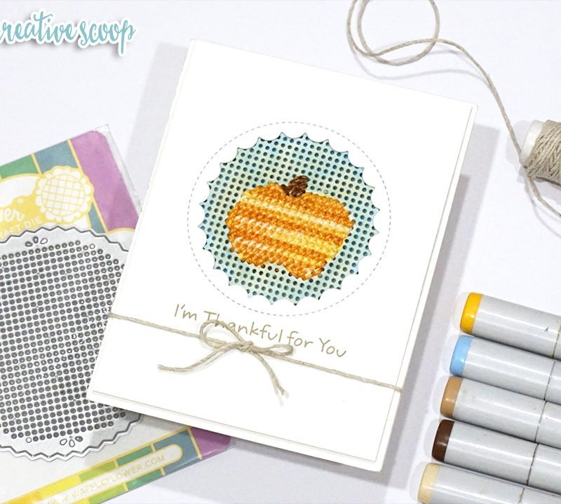 Stitching on cards using Waffle Flower Stitchable Dies