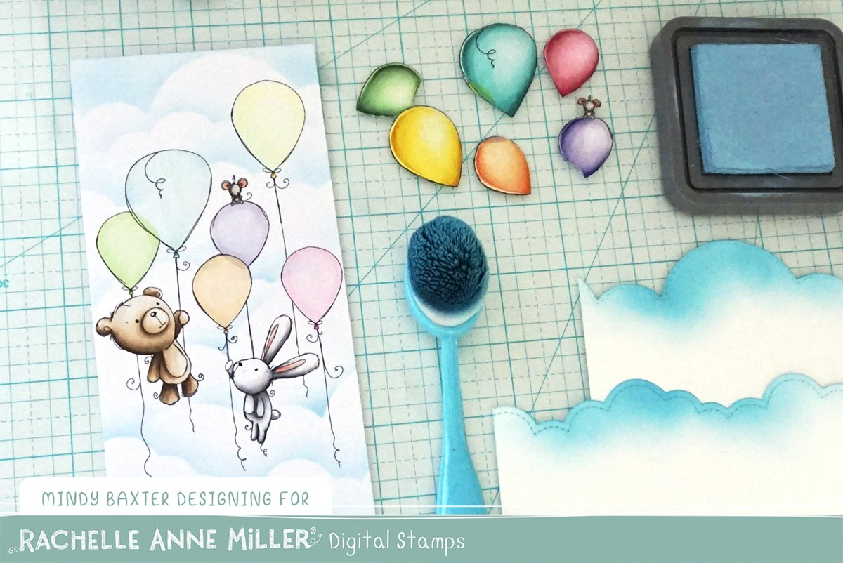 Distress Oxide Cloud Background with Digi Stamps + Copic Rainbow